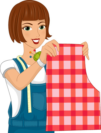 measuring: Illustration of a Girl Wearing a Wrist Pin Cushion Holding Up a Sewing Pattern Stock Photo