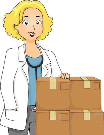 beside: Illustration of a Female Doctor Standing Beside a Stack of Medicine Boxes