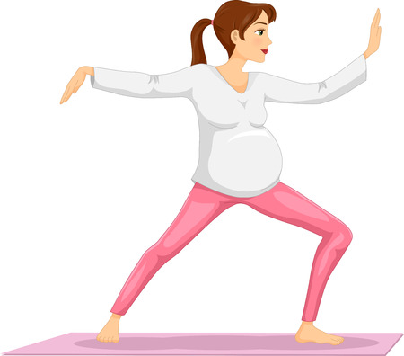 pregnancy exercise: Illustration of a Pregnant Girl Doing Tai Chi