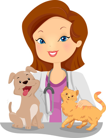 companions: Illustration of a Female Veterinarian Examining a Cat and Dog