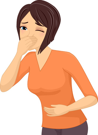 throw up: Illustration of a Sick Girl About to Throw Up