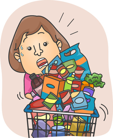swamped: Illustration of a Woman Struggling with a Full Grocery Cart