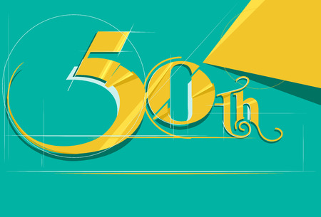 number 50: Illustration Featuring a Sleek Number 50 Drawn in Gold