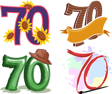 70: Illustration Featuring the Number 70 Decorated with Colorful Ornaments