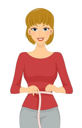 cintura: Ilustración de una niña medir el tamaño de su cintura