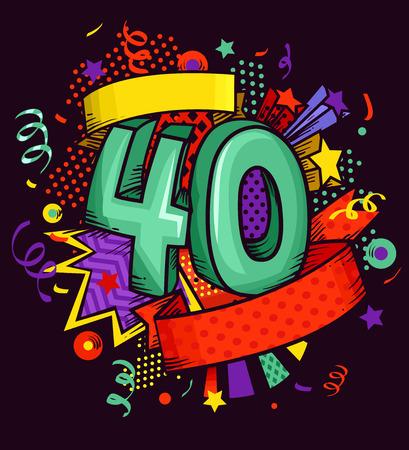 55880287 - Ilustración Caricaturish del número 40 rodeado de adornos  coloridos 05ada14c2f9