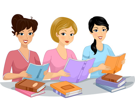 club: Illustration of the Female Members of a Book Club Reading Books Together