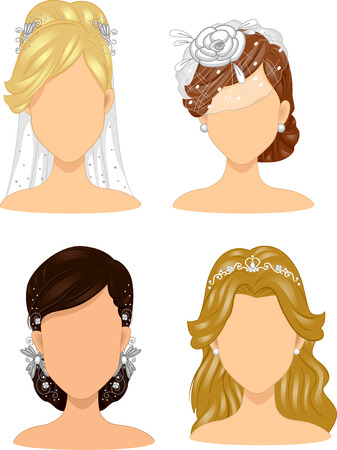 hair clip: Illustration of a Group of Brides Wearing Different Head Dresses
