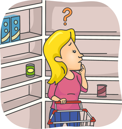 Illustration of a Girl Puzzled Over Empty Shelves