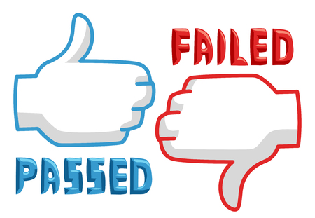 failed: Illustration Featuring Thumbs Up and Thumbs Down Icons Stock Photo