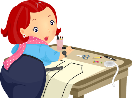 sew: Illustration of a Plump Girl Creating a Sewing Pattern Stock Photo