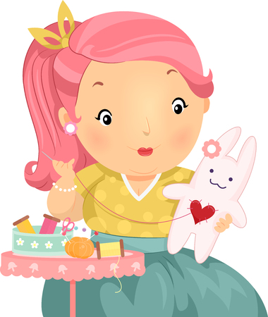 plump: Illustration of a Plump Girl Making a Stuffed Bunny Stock Photo