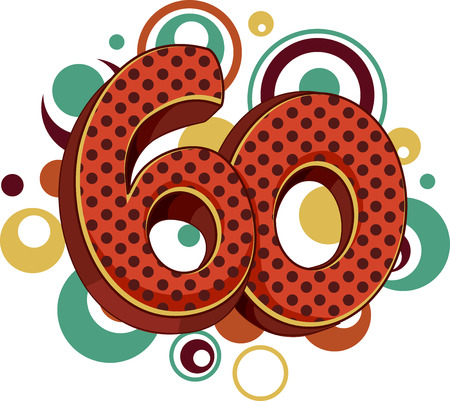 age 60: Illustration Featuring the Number 60 Covered in Vintage Dots