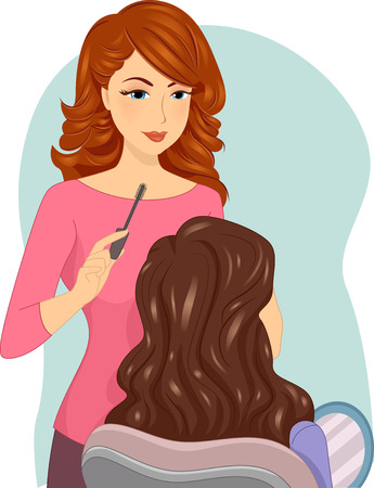 Illustration of a Female Make Up Artist Working on a Client