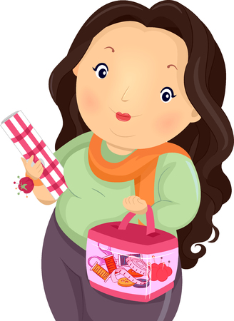 fabric roll: Illustration of a Plump Girl Carrying a Sewing Kit and a Roll of Fabric