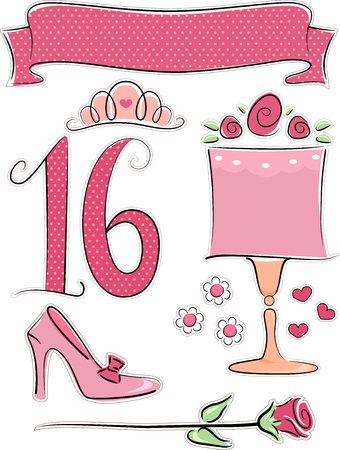 associated: Illustration of Items Usually Associated with Sweet Sixteen Parties