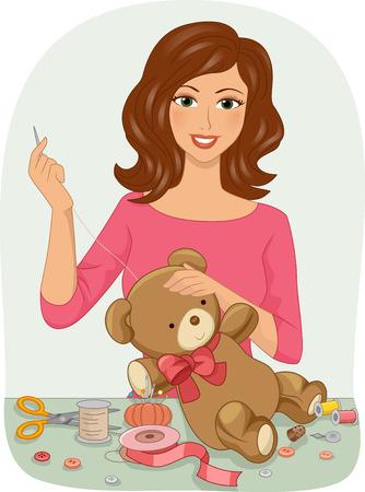 stitching: Illustration of a Girl Stitching Up a Stuffed Toy