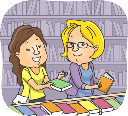 recommending: Illustration of a Girl at Bookstore Recommending a Book to Another Customer