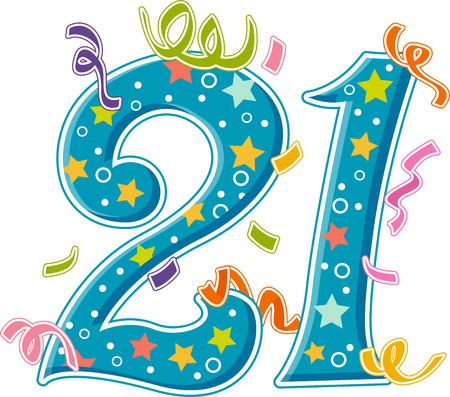 21: Illustration Featuring the 21 Covered in Confetti Stock Photo