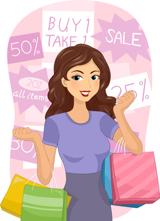 markdown: Illustration of a Girl Carrying Shopping Bags Surrounded by Discount Tags