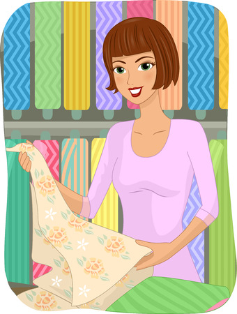 choosing: Illustration of a Girl Choosing Cloths in a Textile Store