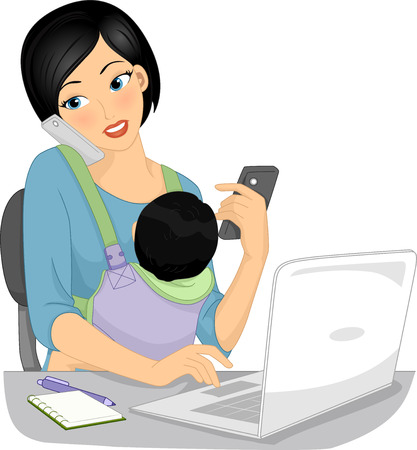 home work: Illustration of a Work at Home Mom Taking Calls While Looking After Her Baby