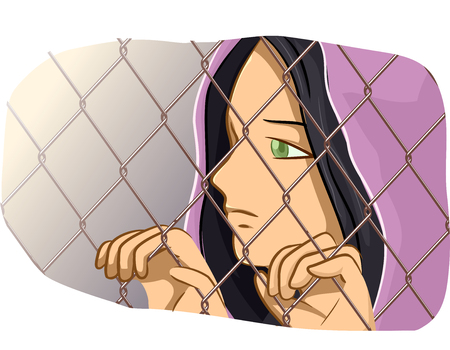 geopolitics: Illustration of a Female Refugee Clutching a Chain Link Fence