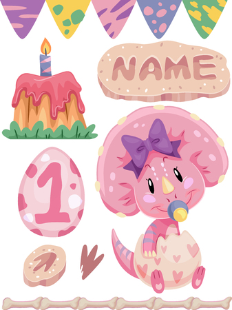 first birthday: Illustration of a Triceratops Surrounded by First Birthday Party Elements