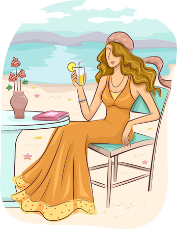 lounging: Illustration of a Girl in a Bohemian Dress Lounging by the Beach