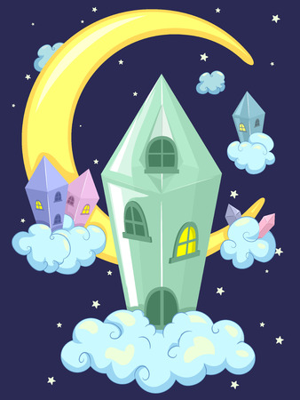 whimsical: Whimsical Illustration of a Crystal House Framed by the Night Sky
