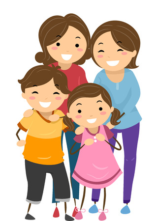 same sex: Stickman Illustration of a Family with Same Sex Parents Stock Photo