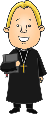 sotana: Ilustración de un cura protestante Llevar una Biblia