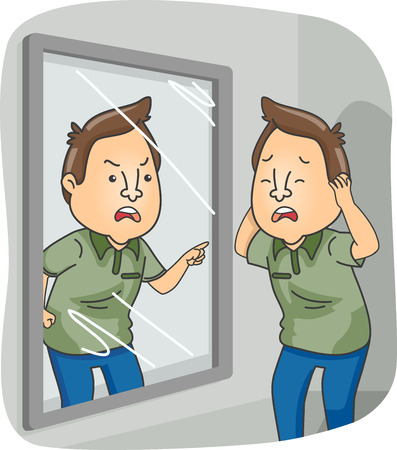hallucination: Illustration of a Man with Dissociative Identity Disorder Standing in Front of a Mirror