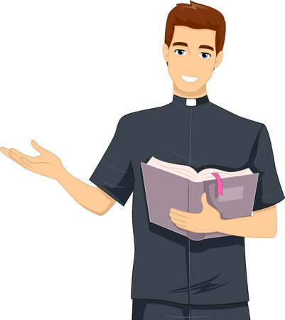 clergy: Illustration of a Young Priest Reading from the Bible
