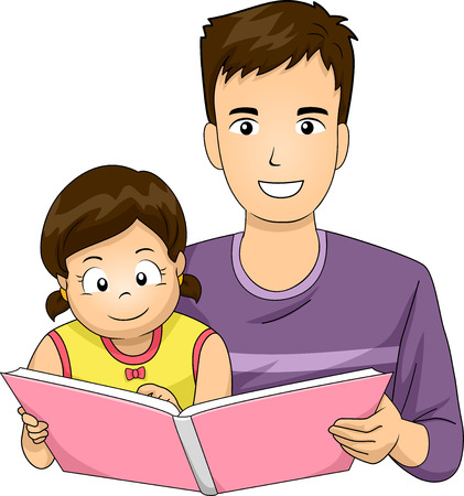 father: Illustration of a Father Reading a Book to His Daughter Stock Photo
