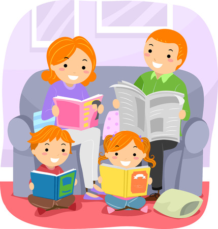 children book: Stickman Illustration Featuring a Family Reading Together Stock Photo