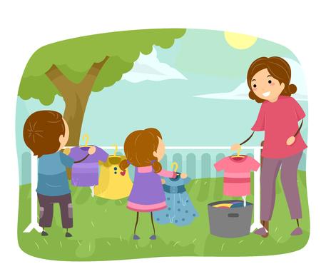helping: Ilustración stickman de los niños ayudando a su mamá a lavar la ropa