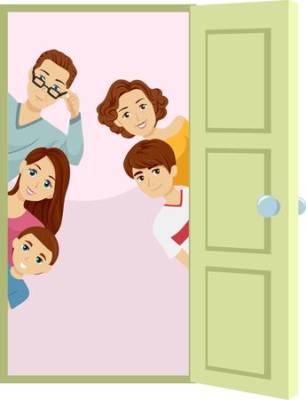 Illustrazione di una porta aperta con una famiglia Peeking da dietro