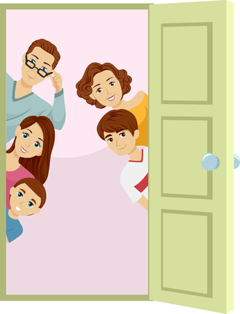 Ilustración de una puerta abierta con una familia que mira a escondidas de detrás