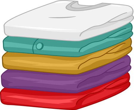 camisas: Ilustración de una pila de ropa limpia cuidadosamente doblada Foto de archivo