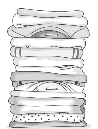 folded clothes: Black and White Illustration of a Stack of Folded Clothes