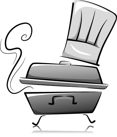 chafing dish: Black and White Illustration of a Chafing Dish with a Toque Above It