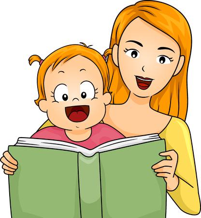 lectura: Ilustración de una madre leyendo un libro a su bebé