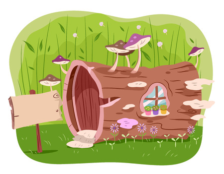 hollow tree: Illustration of a House Made from a Hollow Tree Trunk