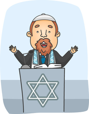 jews: Illustration of a Rabbi Preaching from a Podium
