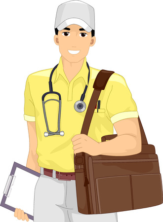public health services: Illustration of a Male Doctor Out on a Medical Mission