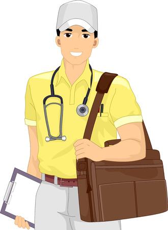 salud publica: Ilustración de un doctor de sexo masculino en una misión médica Foto de archivo
