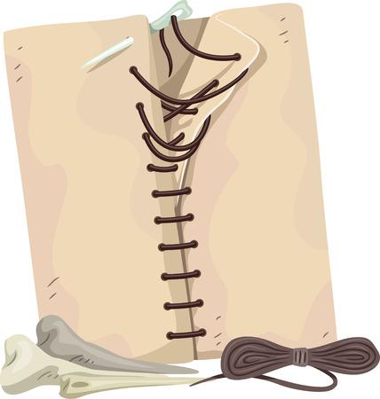 edad de piedra: Ilustración con agujas de hecho de los huesos Foto de archivo