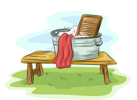 household tasks: Illustration Featuring a Basin and a Washboard Placed Outdoors