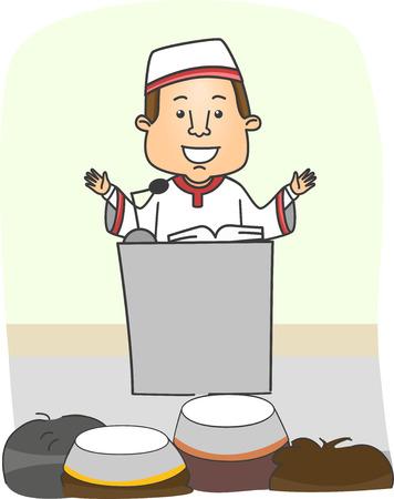 predicador: Ilustración de un imán que predica en frente de una audiencia musulmana Foto de archivo